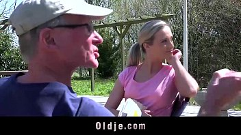 Old farts gangbang young hottie outdoors 6 min