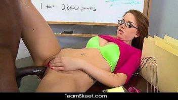 Image: InnocentHigh Brunette schoolgirl Pressley Carter teen pussy interracial sex