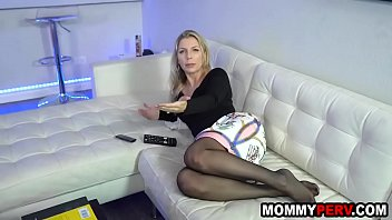 Blonde milf mom fucking son to keep him quiet
