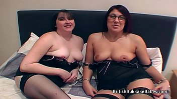 Housewives in black lingerie take cum in mouths