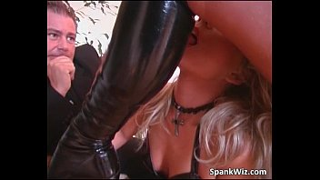 Hot sexy blonde lick on boots and gets