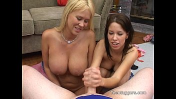 carly and haley give a great handjob