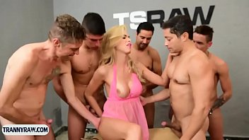 Sexy blonde latina tranny gangbang fucked by some guys