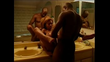 Hard cock hunk and blonde ebony with perky tits fuck in the bathroom