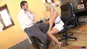 Blonde MILF in High Heels Rides Dude the Sofa  Porn