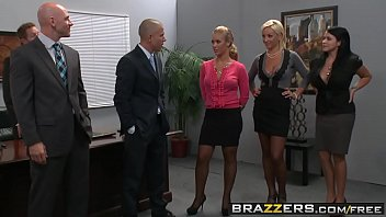 Two busty blondes (Lexi Swallow, Nicole Aniston) get fucked in office 4some - BRAZZERS pornhub video