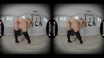 Solo blonde fuck doll, Luna Wulf is masturbating, in VR