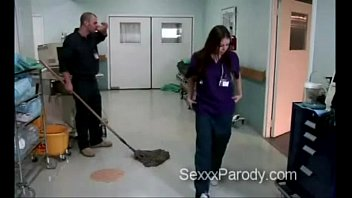 Janitor gets his cock polished by naughty doctor