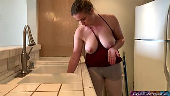Stepmom stuck in the sink gets stepson's dick in her while trying to get free - Erin Electra