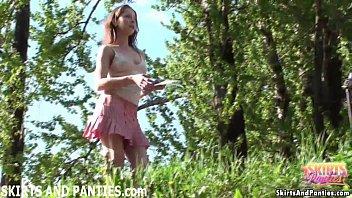 Farmer's Daughter Flashing Her Panties Outdoors