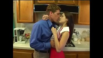 Hot cheerleader Kristina Black sucking dick in kitchen