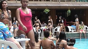 Filipina girls from asiangirlslive.net in pool party and shower after for sex shows.