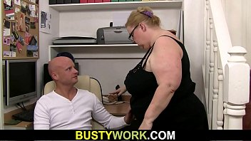 Meg-boobs lady boss with glasses rides his dick thumbnail