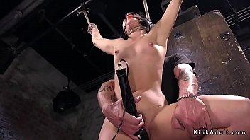 Slave beauty fingered in hogtie bondage