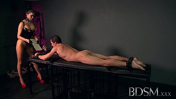 BDSM XXX Sexy Mistress loves teasing her sub boys hard cock while hes handcuffed