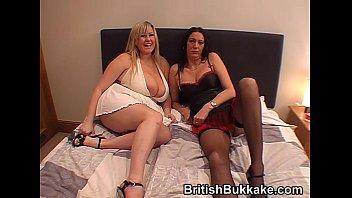 Massive boobed woman and mature take facials thumbnail