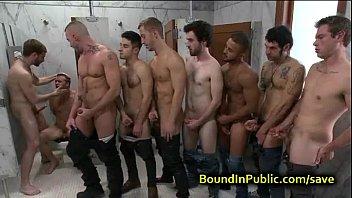 Public gay orgy orgies - Bound gay face cummed in public restroom