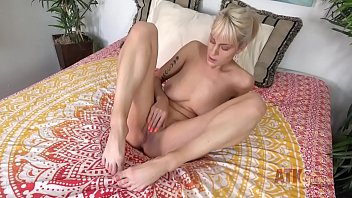 Amateur MILF with HUGE natural tits fucks herself