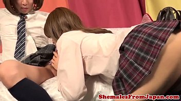 Kinky Japanese shemale on shemale session