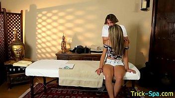 Cute lady enjoys massage