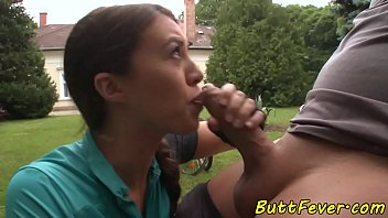 Sports loving beauty anally drilled outdoors