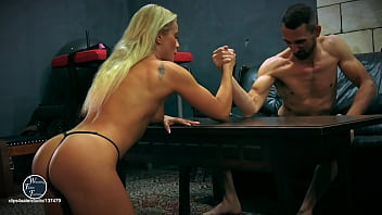 Girls armwrestling teen Mixed wrestling, arm wrestling and facesitting with cherry kiss