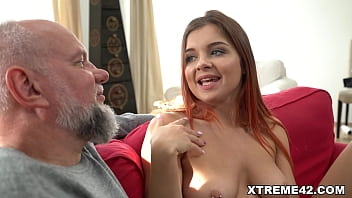 Teen looking Renata Fox blows and fucks older guy