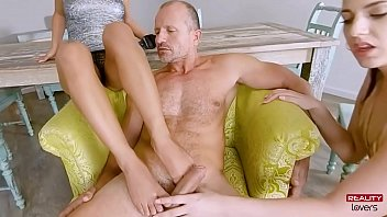 Clothed Females Naked Man Threesome