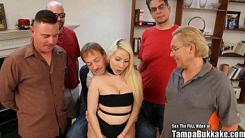 Big Tits Blonde Russian Bride Gangbang Fuck Party 8 min