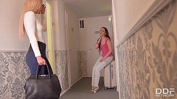 Euro lesbians Aisha & Leyla Bentho Fuck hard at Airbnb 22 min