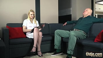 College chick fucked hard by bald grandpa on the couch 10 min