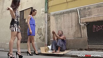 Abused nude homeless man Youmixporn interactive - skinny teen cayenne and busty babe darcia lee pick a homeless man from the streets and fuck him raw