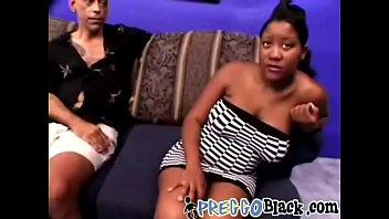 Pregnant tart with big nipples takes two big white dicks-2