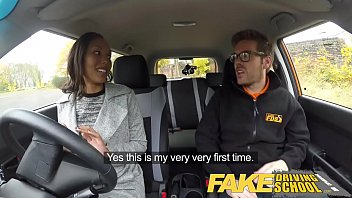 Fake Driving School nervous black teen filled up by her teacher in the car thumbnail