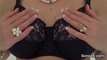 Cheating english milf lady sonia showcases her massive globes