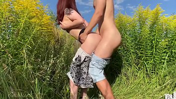Sex with russian wife on the field with flowers. Public place | KleoModel