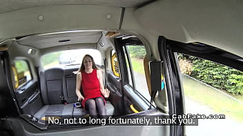 Brunette In Red Dress Bangs In Fake Taxi