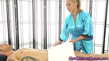 Busty asian masseuse blow