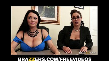 Johnny Sins is shared by two busty brunettes in a job interview