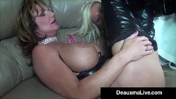 Sexy leather wearables Role play by sexy cat woman milf deauxma ends in 3 way fuck
