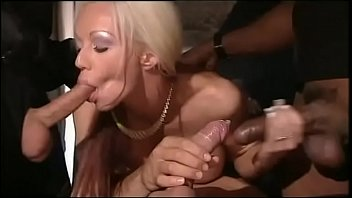 Gang bang on white Blonde slut gang banged by interracial gang