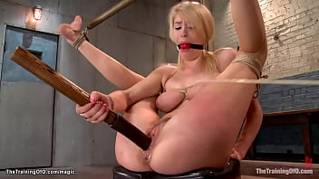 Clamped nipples trainee riding big cock