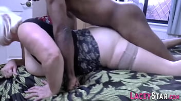 British gran in heels gobbles black cock