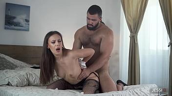 Jessi Q - Big ass latina MILF sucks and fucks her lover in bedroom after office job