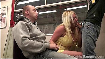 Huge Tits Star Stella Fox Public Sex Threesome In A Subway Train