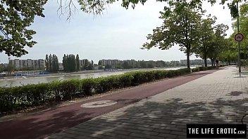 Cute jogger almost caught masturbating in a public park 12 min