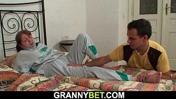 Injured 80 years old grandma takes it from behind