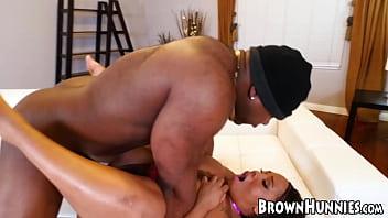 Curvy ebony hottie with huge titties BBC screwed