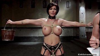 Huge tits MILF slave gangbanged