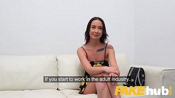 Fake Agent Hot sexy slim model Freya Dee sucks and fucks to orgasm
